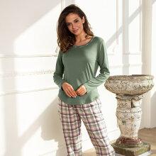 Lady avenue - Flannel Pyjamas Army/Rose Checks
